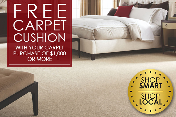 Free Carpet Cushion with Your carpet purchase of $1,000 or more! Come see other great deals at our showroom in Arlington, Texas!