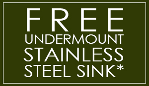 Free Undermount Stainless Steel Sink (Plus 15 Year Seal Warranty) with any granite countertop purchase of $1,100 or more! (Up to a $699 value!) - Don't miss this deal and others just like it at Hiltons Flooring in Arlington, Texas!